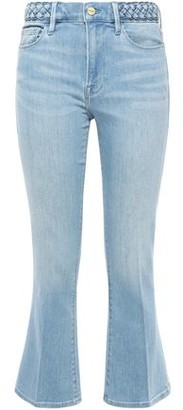 Frame Fountain Braid-trimmed High-rise Kick-flare Jeans