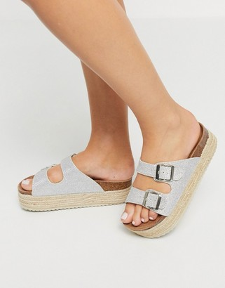 Xti flatform double buckle espadrille sandals in ice