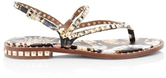Ash Peps Studded Floral-Print Leather Slingback Thong Sandals