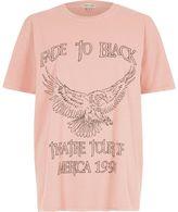 River Island Womens Pink 'fade to black' rock band print T-shirt