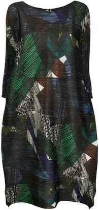 Pleats Please Issey Miyake Embroidered Geometric-Pattern Sack Dress