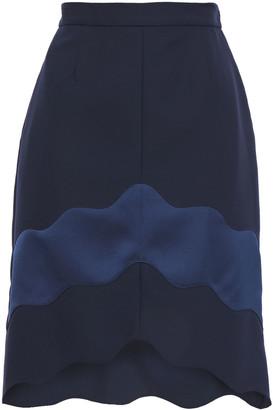 Carven Scalloped Two-tone Crepe De Chine Mini Skirt