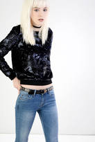 Glamorous Navy Velvet Sequin Sweatshirt