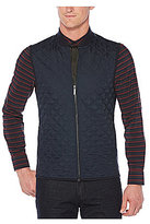 Perry Ellis Ponte Knit Full-Zip Quilted Vest