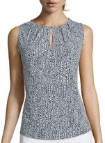 Liz Claiborne Sleeveless Pleat Neck Top - Tall