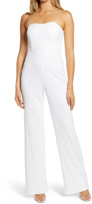 Lulus Like A Diamond Sequin Strapless Jumpsuit