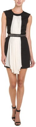Karen Zambos Bella Black & White Pleat Front Dress