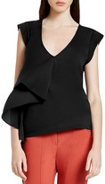 Halston Georgette Ruffle Overlay Knit Top