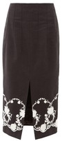 Brock Collection Floral-embroidered Twill Midi Skirt - Womens - Black
