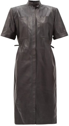 Vetements Exaggerated-shoulder Leather Shirt Dress - Black