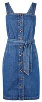 Dorothy Perkins Womens Indigo Belted Pinafore Dress
