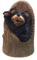 """Call Of The Wild Homestyles #47077 Black Bear in Tree Stump 11.75"""" Country Garden Statue"""