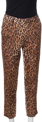 Dolce & Gabbana Brown Leopard Print Wool & Silk Trousers S