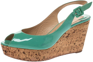 Christian Louboutin Mint Green Patent Leather Cork Wedges Slingback Sandals Size 38