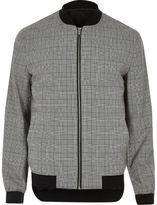 River Island Mens Grey check formal bomber jacket