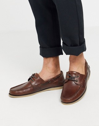 Asos DESIGN boat shoes in tan leather with gum sole