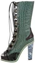 Rodarte Crocodile & Python-Trimmed Knee-High Boots w/ Tags