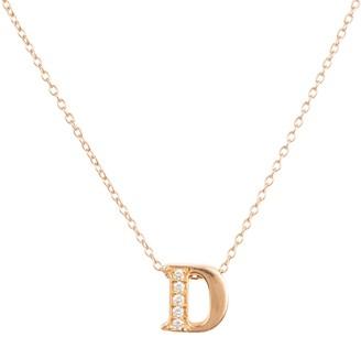 Latelita Diamond Initial Letter Pendant Necklace Rose Gold D