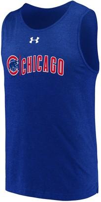 Men's Under Armour Royal Chicago Cubs Dual Logo Performance Tri-Blend Tank Top