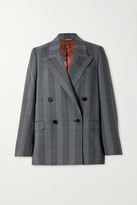 Acne Studios Double-breasted Checked Wool-blend Blazer - Blue
