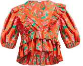 Rhode Resort Elodie Floral-print Cotton-voile Blouse - Womens - Red Print