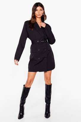 Nasty Gal Womens Make History Belted Blazer Dress - Black - 4, Black
