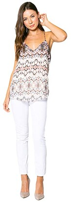 Lavender Brown Ethnic Printed Cami with Adjustable Strap (Taupe/Blue/Brown) Women's Clothing