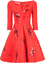Oscar de la Renta sequin patch flared dress