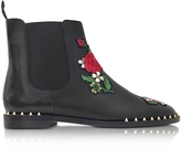 Charlotte Olympia Chelsea Black Leather Floral Embroidery Ankle Boot
