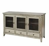Aurelio 3-door 3-drawer Cabinet In Antique Silver Leaf Gracie Oaks