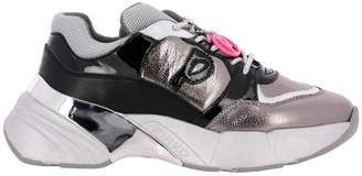 Pinko Sneakers Lace-up Running Sneakers In Patent Leather And Padded Micro Mesh
