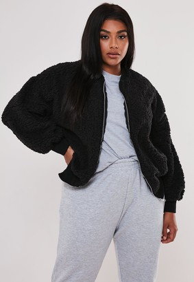 Missguided Plus Size Black Borg Teddy Zip Through Bomber Jacket