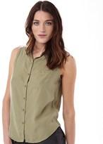 Superdry Womens Sleeveless Lace Shirt Washed Khaki