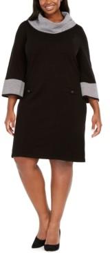 Jessica Howard Plus Size Houndstooth-Print-Trim Shift Dress
