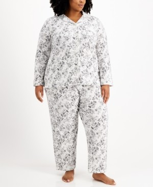 Charter Club Plus Size Cotton Brushed Knit Pajama Set, Created for Macy's
