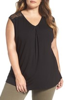 Daniel Rainn Plus Size Women's Lace Trim V-Neck Top