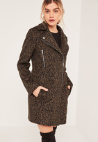 Missguided Brown&Black Faux Wool Leopard Biker Coat