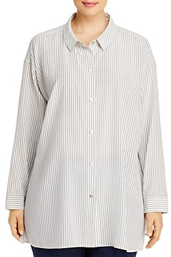 Eileen Fisher, Plus Size Pinstriped Silk Button-Front Shirt