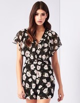 Lipsy Floral Print Ruffle Playsuit