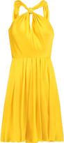 Halston Gathered pleated silk-satin mini dress