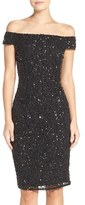 Adrianna Papell Off the Shoulder Sequin Sheath Dress