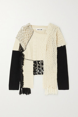 McQ Asymmetric Patchwork Cotton, Alpaca And Wool-blend Sweater - Ecru