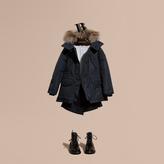 Burberry Showerproof Hooded Coat with Detachable Raccoon Trim