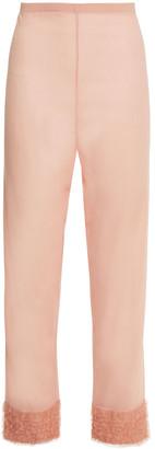 La Perla Tulle-trimmed Stretch-silk Georgette Pajama Pants