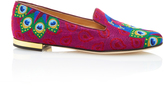 Charlotte Olympia Peacock Embroidered Canvas Slippers
