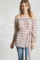 Forever 21 Contemporary Belted Striped Top