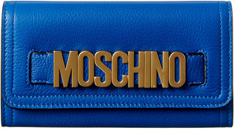 Moschino Logo Plaque Leather Continental Wallet