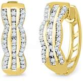 D-GOLD 10KT Yellow Gold Round Diamond Hoop Earring (1/4 cttw)