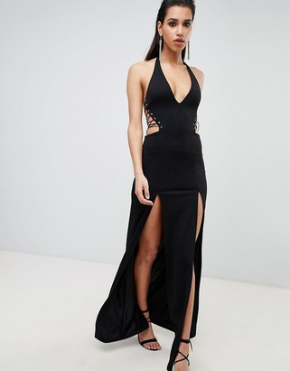 Asos DESIGN Halter Lace Up Maxi Dress