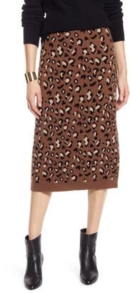 Halogen Leopard Sweater Skirt